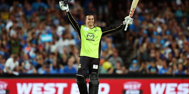 ADELAIDE, AUSTRALIA - JANUARY 21:  Usman Khawaja of the Sydney Thunder celebrates reaching 100 runs during the Big Bash League Semi Final match between the Adelaide Strikers and the Sydney Thunder at Adelaide Oval on January 21, 2016 in Adelaide, Australia.  (Photo by Morne DeKlerk - CA/Cricket Australia/Getty Images)