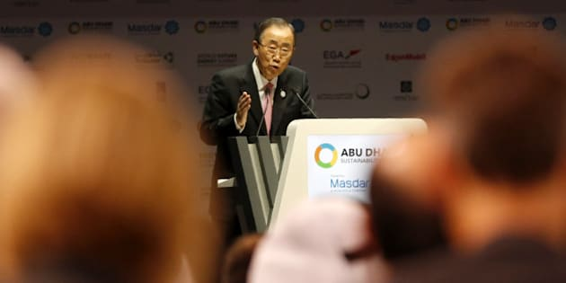 UN Secretary General Ban Ki-moon gives the opening speech of the 9th edition of the World Future Energy Summit on January 18, 2016 in the UAE capital Abu Dhabi.  / AFP / KARIM SAHIB        (Photo credit should read KARIM SAHIB/AFP/Getty Images)