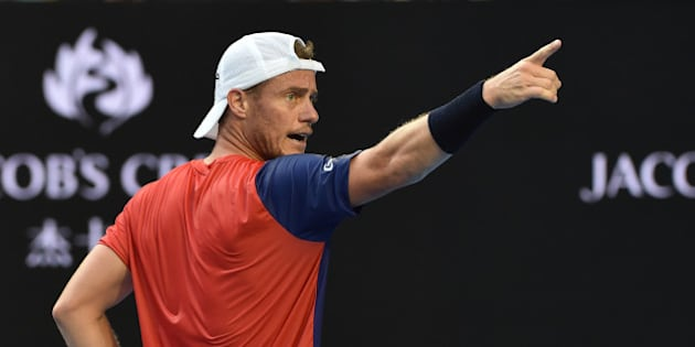 Australia's Lleyton Hewitt gestures during his men's singles match against Spain's David Ferrer on day four of the 2016 Australian Open tennis tournament in Melbourne on January 21, 2016. AFP PHOTO / PAUL CROCK-- IMAGE RESTRICTED TO EDITORIAL USE - STRICTLY NO COMMERCIAL USE / AFP / PAUL CROCK        (Photo credit should read PAUL CROCK/AFP/Getty Images)