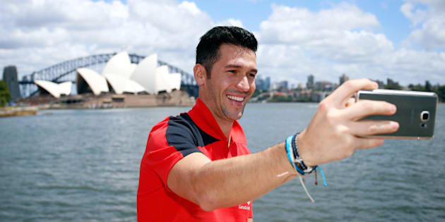 SYDNEY, AUSTRALIA - JANUARY 07:  Luis Garcia takes a selfie in Sydney Harbour on January 7, 2016 in Sydney, Australia.  (Photo by Zak Kaczmarek - Liverpool FC/Liverpool FC via Getty Images)