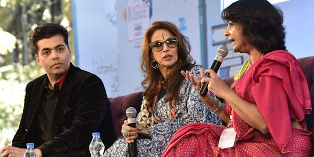 JAIPUR, INDIA - JANUARY 21: Karan Johar, Shobhaa De and Poonam Saxena during the session 'An Unsuitable Boy' at Jaipur Literary Festival 2016, on January 21, 2016 in Jaipur, India. Ninth edition of ZEE Jaipur Literature Festival is set to witness over 360 participants from the fields of literature, history, politics, economy, art and culture debate and discuss on one platform during the course of the next five days. (Photo by Sanjeev Verma/Hindustan Times via Getty Images)