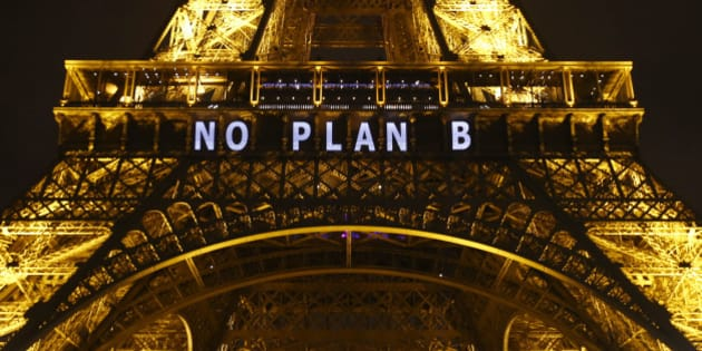 "The slogan ""NO PLAN B"" is projected on the Eiffel Tower as part of the COP21, United Nations Climate Change Conference in Paris, France, Friday, Dec. 11, 2015.  (AP Photo/Francois Mori)"