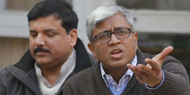 NEW DELHI, INDIA - DECEMBER 18: AAP leaders Ashutosh and Sanjay Singh address the media during a press conference on December 18, 2015 in New Delhi, India. Relentless in its attack on Finance Minister Arun Jaitley, the Aam Aadmi Party today posed five queries to him relating to alleged corruption in Delhi's cricket body DDCA even as Chief Minister Arvind Kejriwal fired fresh salvos at the Modi government claiming it had directed the CBI to target the opposition. (Photo by Arvind Yadav/Hindustan Times via Getty Images)