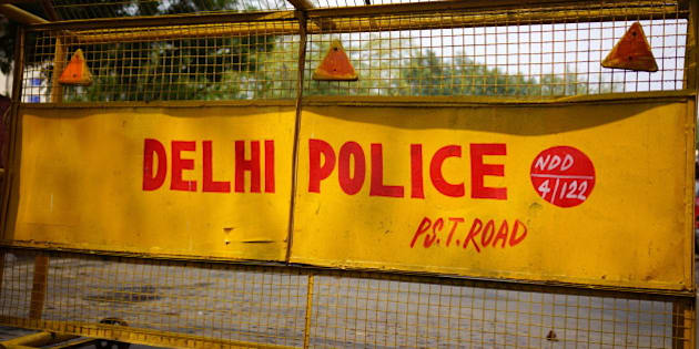 Delhi Police Road Barrier,  New Delhi, India