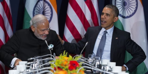 U.S. President Barack Obama, right, meets with Indian Prime Minister Narendra Modi during the COP21, United Nations Climate Change Conference, in Le Bourget, outside Paris, on Monday, Nov. 30, 2015. (AP Photo/Evan Vucci)