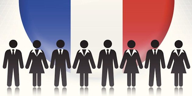 France Flag Button with Business Concept Stick Figures