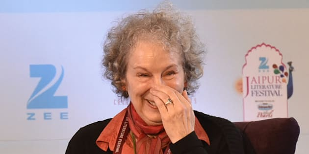 JAIPUR, INDIA - JANUARY 22: Canadian poet and novelist Margaret Atwood during the session 'The Heart Goes Last' at Jaipur literature festival 2016 on January 22, 2016 in Jaipur, India. Ninth edition of ZEE Jaipur Literature Festival is set to witness over 360 participants from the fields of literature, history, politics, economy, art and culture debate and discuss on one platform during the course of the next five days. (Photo by Sanjeev Verma/Hindustan Times via Getty Images)