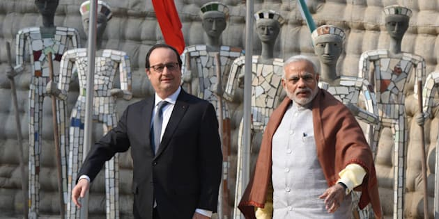 CHANDIGARH, INDIA - JANUARY 24: French President Francois Hollande and Prime Minister Narendra Modi at Rock Garden on January 24, 2016 in Chandigarh, India. Hollande was joined by PM Modi in Chandigarh later in the afternoon at the Rock Garden, a famous landmark of the city. The two will attend a CEO's Forum and the India-France Business Summit. Hollande is the chief guest at the Republic Day Parade this year. India and France are in negotiations for 36 Rafale fighter jets in fly away conditions since the announcement for the deal was made by Prime Minister Narendra Modi in April during his visit to France. (Photo by Sanjeev Sharma/Hindustan Times via Getty Images)