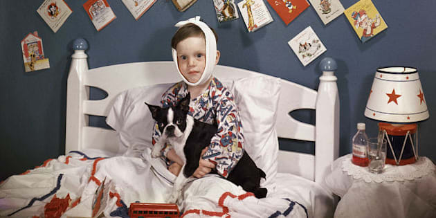 A sick boy with a bandage wrapped around his head sits in bed, a French Bulldog in his lap and surrounded by toys and get-well cards, 1950. There is a bottle of Benedryl and a lamp shaped like a toy drum on the nightstand next to him. (Photo by Lambert/Getty Images)