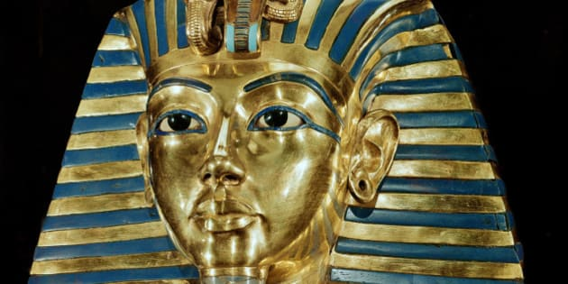 Egyptian Antiquities. Mask of Pharaoh Tutankhamun, part of Tutankhamun's Treasures. Gold with precious stones, H54 cm, 18th Dynasty,c. 1340 BC. From the Tomb of Tutankhamun, Valley of the Kings, Thebes. Egyptian Museum, Cairo, Egypt