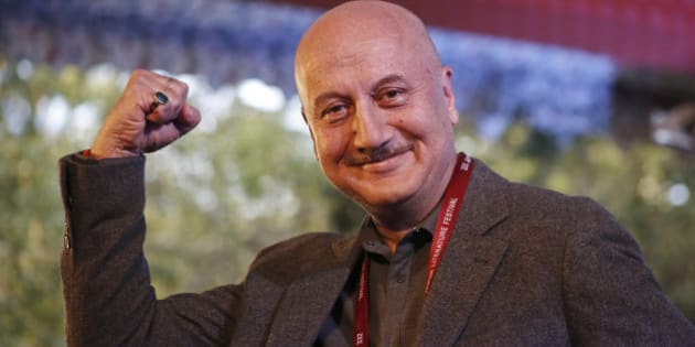 Bollywood actor Anupam Kher gestures to the audience during a session at the Jaipur Literature Festival at Jaipur, Rajasthan state, India, Monday, Jan.25, 2016. (AP Photo/ Deepak Sharma)