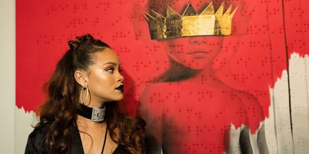 LOS ANGELES, CA - OCTOBER 07:  Singer Rihanna at Rihanna's 8th album artwork reveal for 'ANTI' at MAMA Gallery on October 7, 2015 in Los Angeles, California.  (Photo by Christopher Polk/Getty Images for WESTBURY ROAD ENTERTAINMENT LLC)