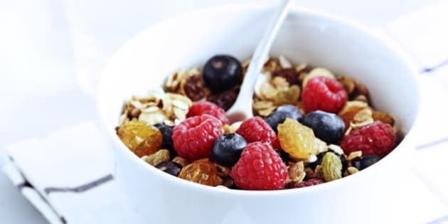 bowl of fresh fruit and bircher style granola