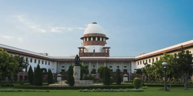 'Facade of a government building, Supreme Court, New Delhi, India'