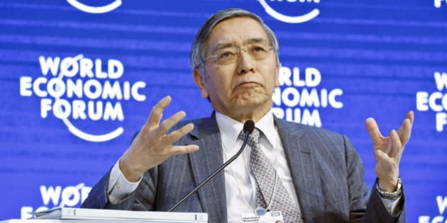 "Governor of the Bank of Japan speaks during a panel""The Global Economic Outlook""at the World Economic Forum in Davos, Switzerland, Friday, Jan. 22, 2016. at the World Economic Forum in Davos, Switzerland, Friday, Jan. 22, 2016. World leaders are holding a flurry of diplomatic meetings at the World Economic Forum and worried CEOs are debating about how to deal with this year's volatile markets and low oil prices.(AP Photo/Michel Euler)"