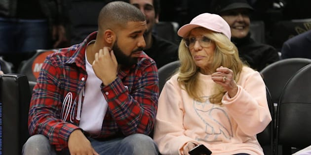 TORONTO, ON - NOVEMBER 25: Drake, and mom Sandi Graham, courtside. Toronto Raptors vs Cleveland Cavaliers in 1st half action of NBA regular season play at Air Canada Centre. Toronto Star/Rick Madonik        (Rick Madonik/Toronto Star via Getty Images)