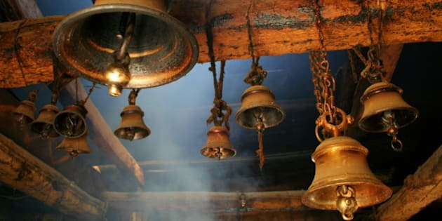Bells hanging in temple.
