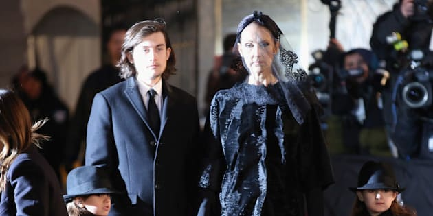 MONTREAL, QC - JANUARY 22:  Recording artist Celine Dion and children Rene-Charles Angelil, Eddy Angelil and Nelson Angelil attend the State Funeral Service for Celine Dion's Husband Rene Angelil at Notre-Dame Basilica on January 22, 2016 in Montreal, Canada.  (Photo by Tom Szczerbowski/Getty Images)