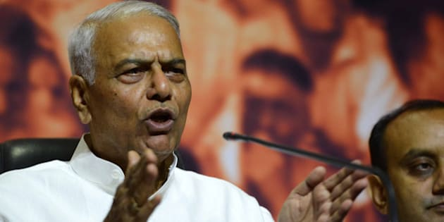 NEW DELHI, INDIA  MAY 05: BJPs senior leader Yashwant Sinha addressing a press conference in New Delhi on Monday.(Photo by Shekhar Yadav/India Today Group/Getty Images)