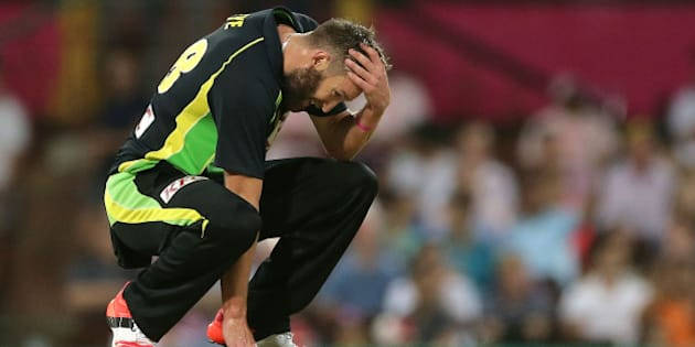 SYDNEY, AUSTRALIA - JANUARY 31:  Andrew Tye of Australia reacts during the International Twenty20 match between Australia and India at Sydney Cricket Ground on January 31, 2016 in Sydney, Australia.  (Photo by Mark Metcalfe/Getty Images)