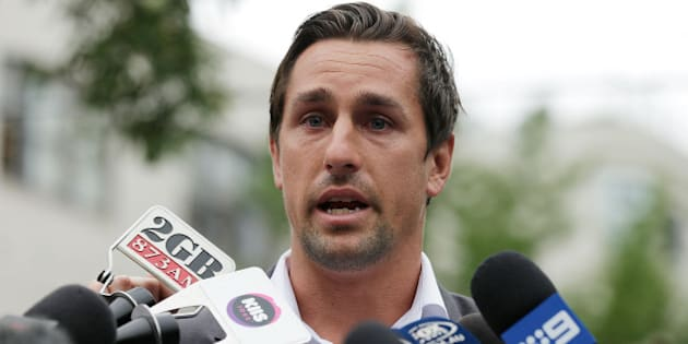 SYDNEY, AUSTRALIA - JANUARY 29:  Mitchell Pearce speaks to the media during a press conference held in Surry Hills on January 29, 2016 in Sydney, Australia.  (Photo by Mark Metcalfe/Getty Images)