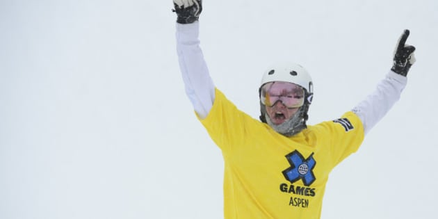 ASPEN, CO - JANUARY 31: Jarryd Hughes raises his arms in victory after winning the men's ski cross finals at Winter X Games 2016 at Buttermilk Mountain on January 31, 2016 in Aspen, Colorado. Jarryd Hughes won the event with a time of 0:59.292.  (Photo by Brent Lewis/The Denver Post via Getty Images)