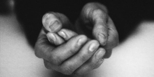 Hands together, close-up, b&w