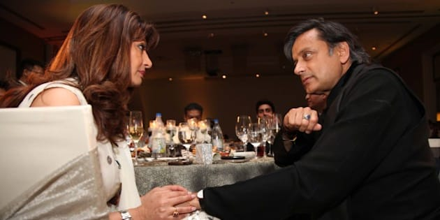 GURGAON, INDIA - MARCH 21: Indian politician Shashi Tharoor with his wife Sunanda Pushkar Tharoor during the 'Delhi's Most Stylish People's Choice Awards 2013' held at The Oberoi Business Hotel on March 21, 2013 in Gurgaon, India. Delhi's Most Stylish', the iconic awards that celebrate style and the stylish, bringing together people across politics, fashion, films and more. Delhi's most stylish people chosen by the jury were rewarded in a glitzy ceremony. The jury this time comprised Sanjoy Narayan, Editor-in-Chief, Hindustan Times, actor Chitrangda Singh, industrialist Peter Punj, Sunil Sethi, president, FDCI and Sonal Kalra, Editor, HT City. (Photo by Manoj Verma/Hindustan Times via Getty Images)
