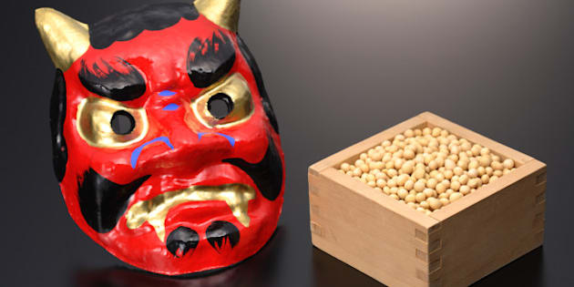 Japanese 'Oni' devil mask with box of 'edamame' soybeans