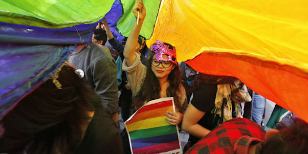 NEW DELHI, INDIA - NOVEMBER 29: A LGBT rights activist holds rainbow flag during Delhi Queer Pride March from Barakhamba Road to Jantar Mantar on November 29, 2015 in New Delhi, India. Organizers said that while the gay pride parade celebrated the gains India's LGBT community has made in recent years, they also wanted to highlight the continuing discrimination it faces. The Delhi Queer Pride Committee also demanded the repeal of Section 377 of the Indian Penal Code, which criminalizes homosexual acts. (Photo by Raj K Raj/Hindustan Times via Getty Images)