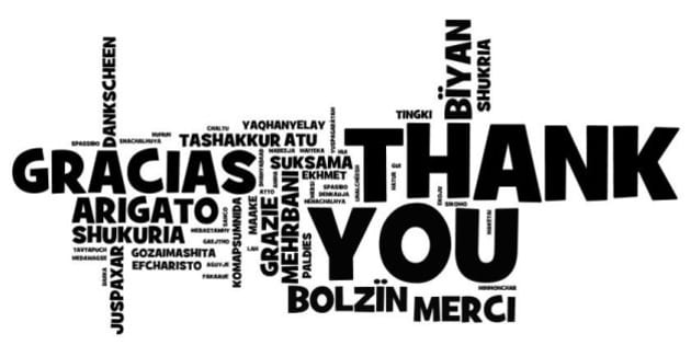 thank you note created in many languages via wordl  