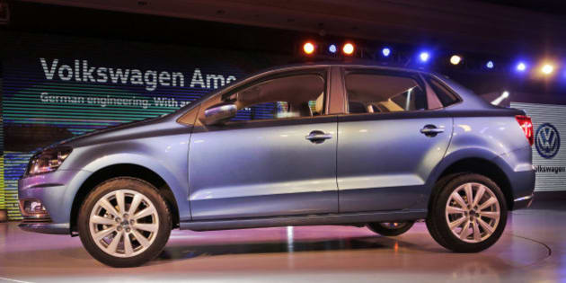 "Volkswagen's ""Ameo"", a sedan is displayed during its launch in New Delhi, India, Tuesday, Feb. 2, 2016. (AP Photo/Altaf Qadri)"