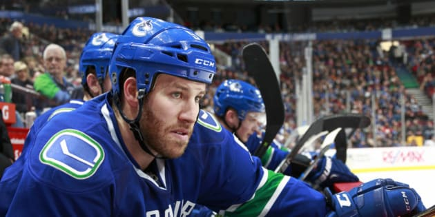 VANCOUVER, BC - JANUARY 9:  Brandon Prust #9 of the Vancouver Canucks looks on from the bench during their NHL game against the Tampa Bay Lightning at Rogers Arena January 9, 2016 in Vancouver, British Columbia, Canada.  (Photo by Jeff Vinnick/NHLI via Getty Images)