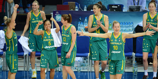 ISTANBUL, TURKEY -  OCTOBER 5: Australia's players celebrate their win agaist Turkey in the 2014 FIBA Women's World Championships 3rd place basketball match at Fenerbahce Ulker Sports Arena on October 5, 2014 in Istanbul, Turkey. (Photo by Getty Images)