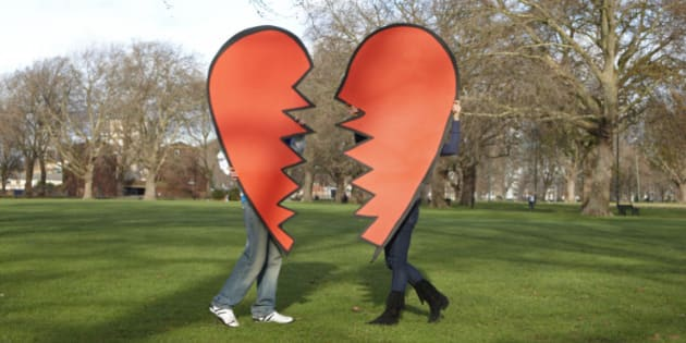 Two heart pieces coming together in the park