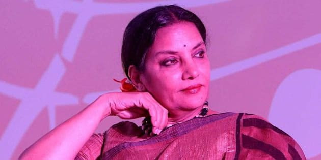 NEW DELHI, INDIA - AUGUST 19: Bollywood actor Shabana Azmi during the launch of a music video, Phool khil jayenge (The flower will bloom), on the subject of immunization, featuring Vidya Balan and Farhan Akhtar, at Taj Place on August 19, 2014 in New Delhi, India. During a launch, Union Health Minister Dr Harsh Vardhan said, Lets make a pledge here to become health sainiks and each of us would strive to inspire other ordinary people to become health volunteers to work for a healthy nation. (Photo by Prabhas Roy/Hindustan Times via Getty Images)