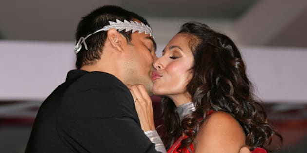 Bollywood actress and supermodel Malaika Arora Khan and actor husband Arbaaz Khan at the Ponds Relaunch held at  Hotel J W Mariott on April 17, 2008 in Mumbai, India. (Photo by Chirag Wakaskar/WireImage)