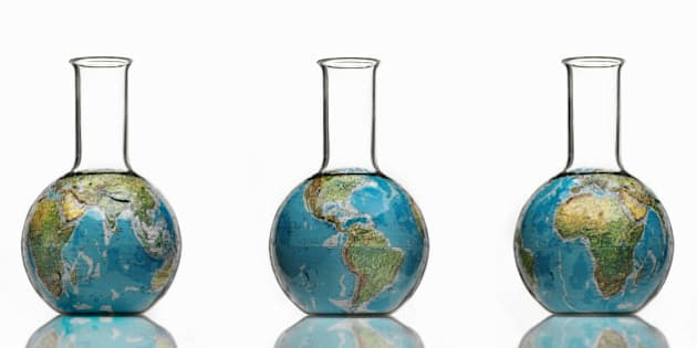 Globe in  laboratory bottle