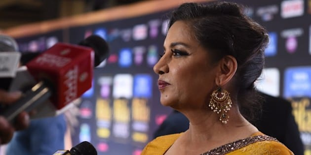 Indian actress Shabana Azmi poses on the green carpet at the Tampa Convention Center ahead of IIFA Rocks on the second day of the 15th International Indian Film Academy (IIFA) Awards in Tampa, Florida, April 24, 2014. AFP PHOTO JEWEL SAMAD        (Photo credit should read JEWEL SAMAD/AFP/Getty Images)