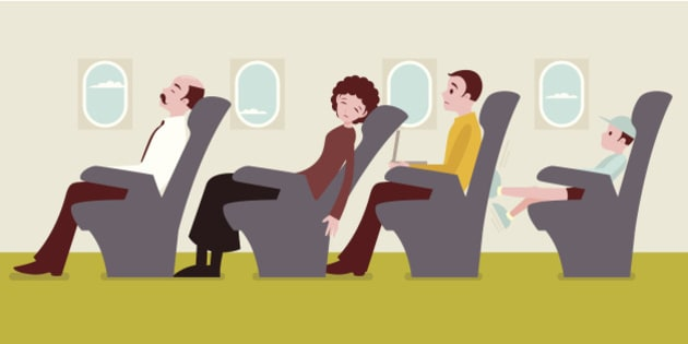 Economy class passengers on the airplane: The man in the yellow sweater getting frustrated with the woman tilting her seats in front of him, and a child kicking his seat in the back.