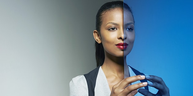 business woman with mirror image