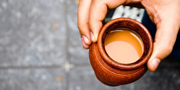 Chai in traditional cup made of mud.