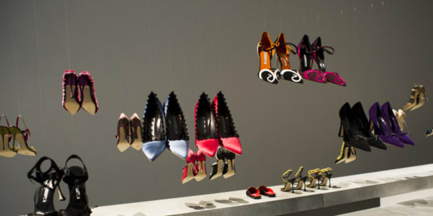 The Manolo Blahnik shoe collection is displayed during Fashion Week on Sunday, Feb. 9, 2014, in New York. (AP Photo/Charles Sykes)