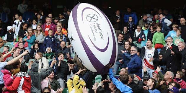 LONDON, ENGLAND - MAY 11: The crowd play with a giant rugby ball in the stands during The Marriott London Sevens - Day 2 at Twickenham Stadium on May 11, 2014 in London, England.  (Photo by Tony Marshall - RFU/The RFU Collection via Getty Images)