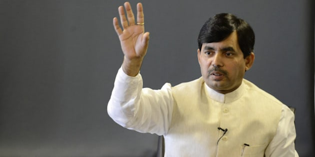 NEW DELHI, INDIA - FEBRUARY 5: Bharatiya Janata Party leader Syed Shahnawaz Hussain speaking with the journalists at Hindustan Times House on February 5, 2012 in New Delhi, India. (Photo by Saumya Khandelwal/Hindustan Times via Getty Images)