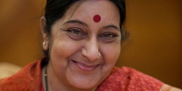 India's External Affairs Minister Sushma Swaraj smiles during her meeting with Russian counterpart Sergey Lavrov in Moscow, Russia, on Tuesday, Oct. 20, 2015. (AP Photo/Ivan Sekretarev)