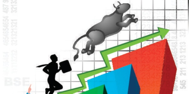 Illustrative representation showing rise in stock market