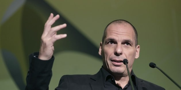 Greek Finance Minister Yanis Varoufakis gives a speech during an economic conference in Athens, on Tuesday, May 14, 2015. Varoufakis said Thursday that he will reject any deal with bailout creditors unless it helps Greece escape from its financial crisis.(AP Photo/Petros Giannakouris)
