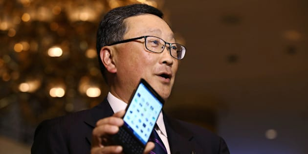 John Chen, chief executive officer of BlackBerry Ltd., holds the BlackBerry Priv smartphone as he speaks during a Bloomberg Television interview at the Asia-Pacific Economic Cooperation (APEC) CEO Summit in Manila, the Philippines, on Tuesday, Nov. 17, 2015. BlackBerry needs to sell five million phones a year before it can start making money, Chen said. Photographer: SeongJoon Cho/Bloomberg via Getty Images