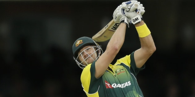 Australia's Shane Watson plays a shot for six off the bowling of England's Moeen Ali during the One Day International cricket match between England and Australia at Lord's Cricket Ground, London, Saturday, Sept. 5, 2015. (AP Photo/Tim Ireland)